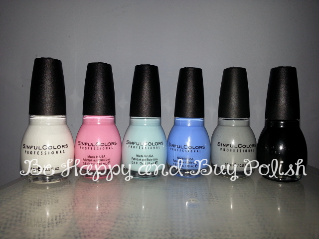 Sinful Colors Snow Me White, Heartfelt, Tidal Wave, Sail La Vie, Cool Gray, Black on Black