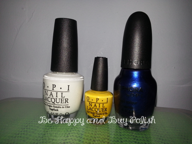 OPI Alpine Snow, SOPI OPening Night, OPI unnamed yellow