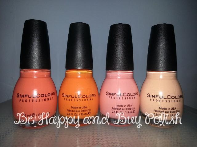 Sinful Colors Skylark, Orange Cream, Clementine, Anemone