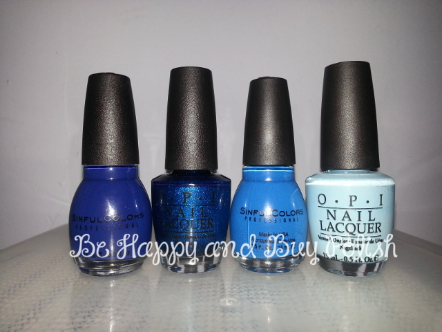 Sinful Colors blue (no tag), OPI Swimsuit...Nailed It, Sinful Colors Burning Bright, OPI What's With the Cattitude?