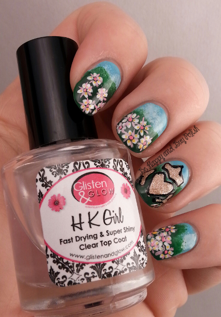 Irish landscape with flowers nail art | Be Happy And Buy Polish