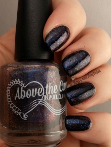 Above the Curve Wibbly Wobbly Timey Wimey over Sinful Colors Black on Black | Be Happy And Buy Polish