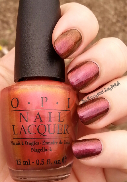 OPI Man of La Mancha over OPI Black Cherry Chutney | Be Happy And Buy Polish