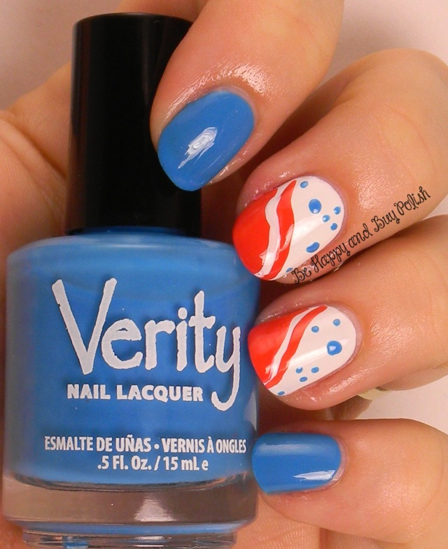 July 4 nail art | Verity Hot Baby Blue, Jessica Sharktooth, SOPI High Maintenance | Be Happy And Buy Polish