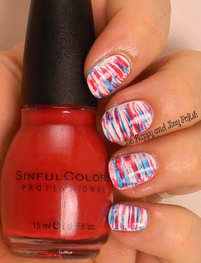 July 4 fan brush nail art | Sinful Colors Snow Me White, Pur Rouge, Burning Bright | Be Happy And Buy Polish