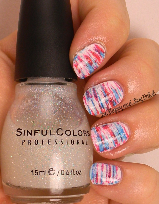 July 4 fan brush nail art | Sinful Colors Snow Me White, Pur Rouge, Burning Bright, Smokin Hot | Be Happy And Buy Polish