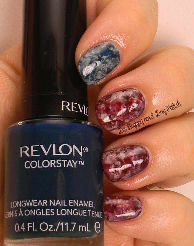 July 4th saran wrap nail art | Revlon Midnight, Persuade, Bare Bones | Be Happy And Buy Polish