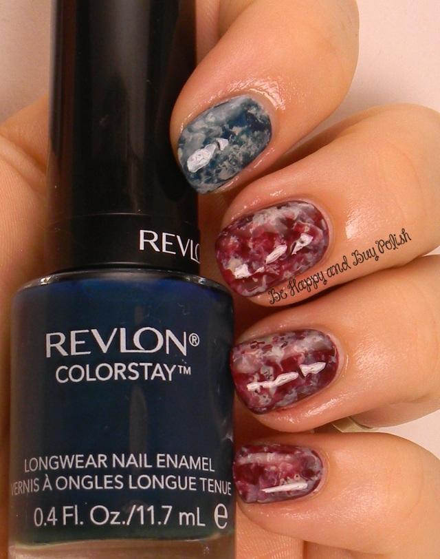 July 4th saran wrap nail art   Revlon Midnight, Persuade, Bare Bones   Be Happy And Buy Polish