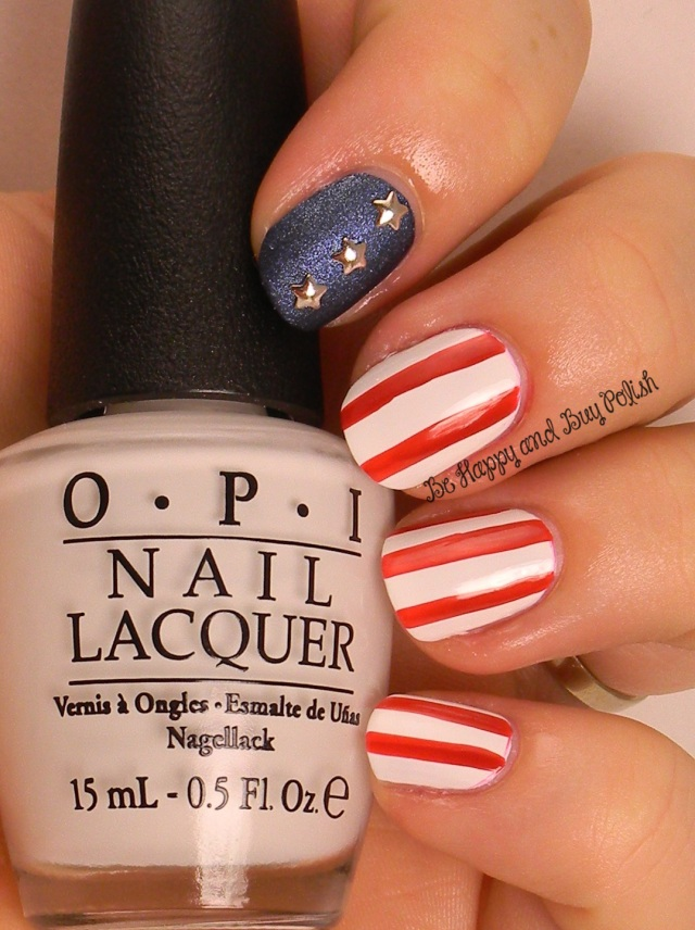 July 4 stars & stripes nail art | OPI Alpine Snow, Over & Over A-Gwen, Russian Navy Suede | Be Happy And Buy Polish