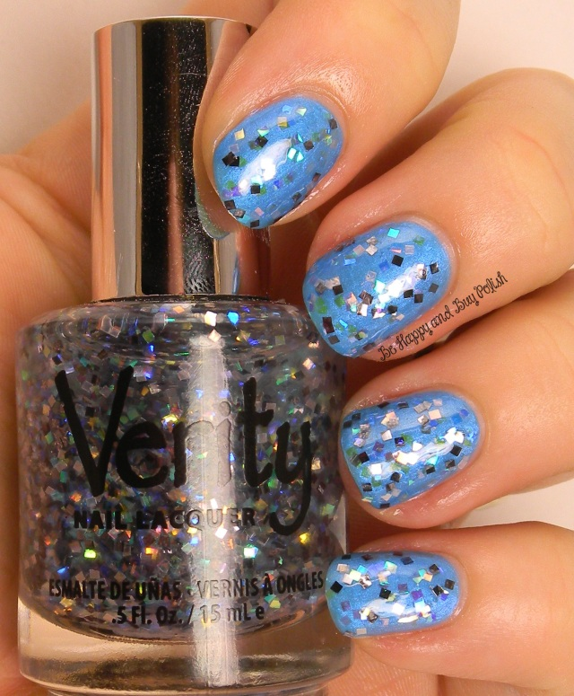 Verity Twinkle Squares over Verity Flamenco Blue | Be Happy And Buy Polish