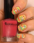 OMD2 Nail Art Abstract | Barielle Panama Pina Colada, Paradise in the Tropics, Head of the Class Green, Designer's Shoe | Be Happy And Buy Polish