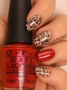 OMD2 Nail Art Animal Print | OPI Don't Pretzel My Buttons, Black Onyx, Innie Minnie Mightie Bow | Be Happy And Buy Polish