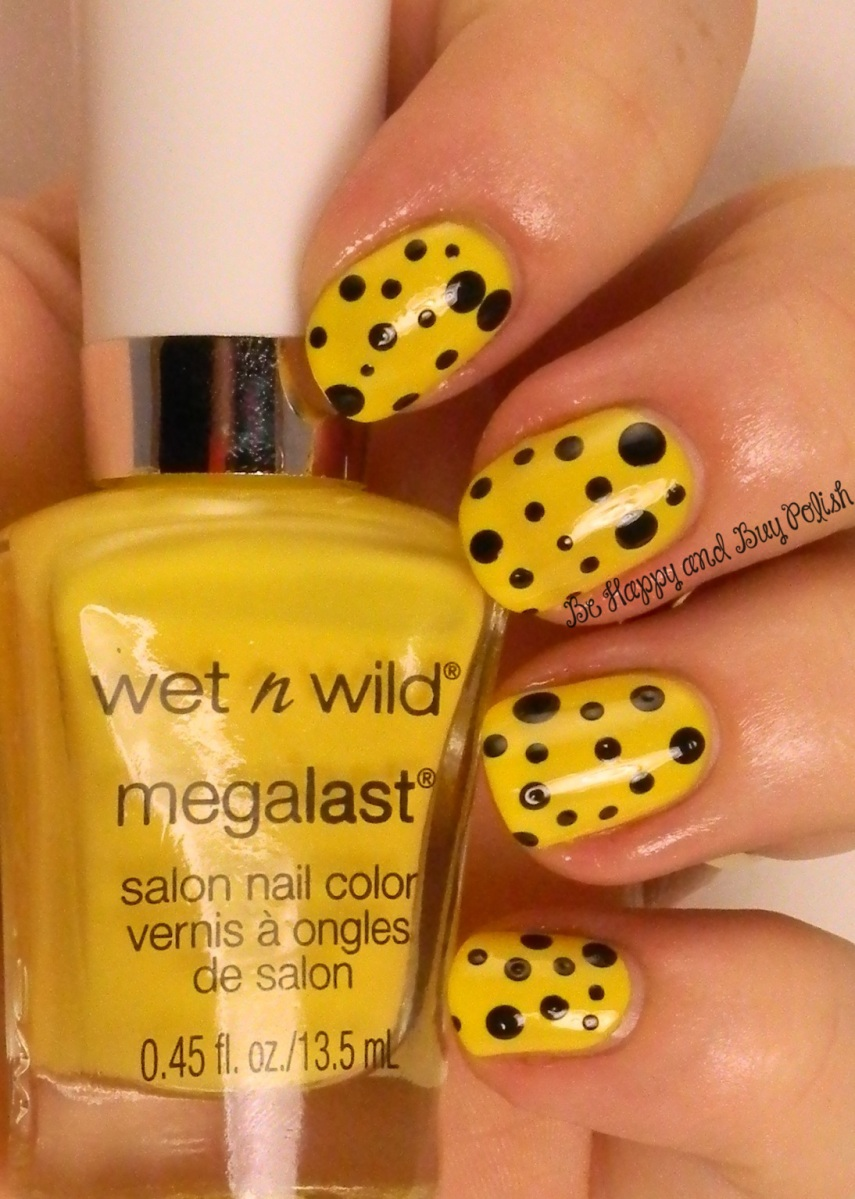 OMD2 Nail Art Challenge Bright | Wet n Wild A Venice Day, Black Creme | Be Happy And Buy Polish