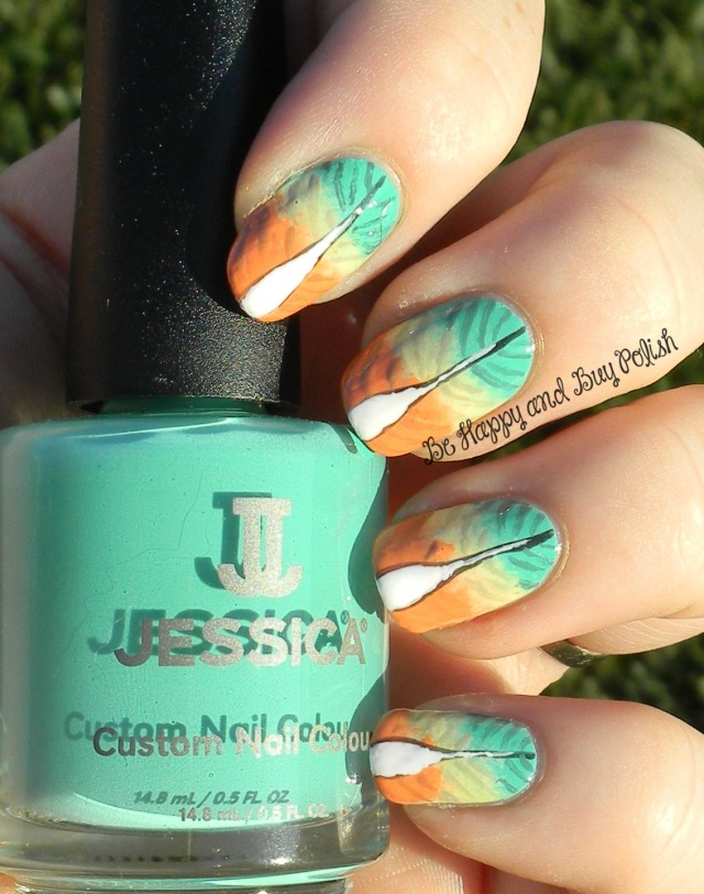 OMD2 Nail Art Feathers | Jessica Cosmetics Sharktooth, Dynamite Teal, Monsoon Melon, Banana Peel, Sunset Blvd | Be Happy And Buy Polish http://wp.me/p3n4zP-1nO