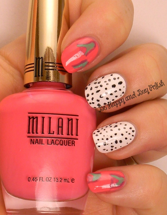 OMD2 Nail Art DragonFruit | Milani Splendid Strawberry, Sinful Colors Snow Me White, Black on Black, Mint Tropics | Be Happy And Buy Polish