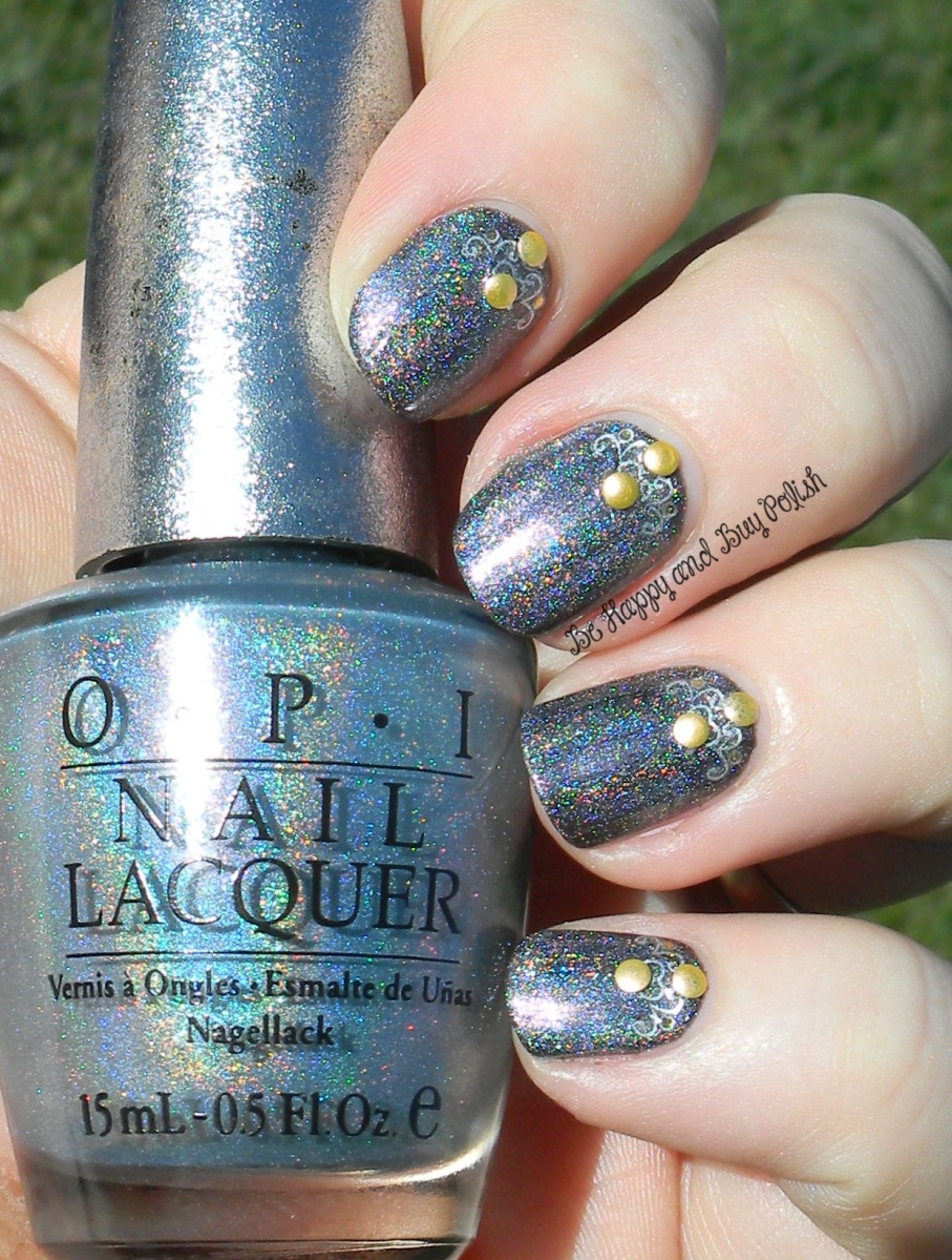 OMD2 Nail Art Challenge Holographic   Above the Curve The Silence, OPI DS Sapphire   Be Happy And Buy Polish