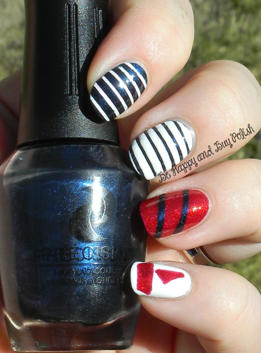 OMD2 Nautical Nail Art | Sally Hansen White On, Précision Twinkle Toes and The After After Party | Be Happy And Buy Polish