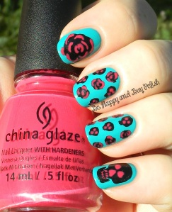 OMD2 Nail Art Roses And Skulls | China Glaze Liquid Leather, Custom Kicks, Heli-yum | Be Happy And Buy Polish