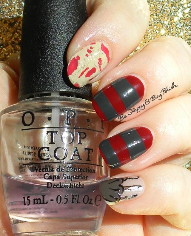 Halloween Freddy Krueger nail art | Be Happy And Buy Polish