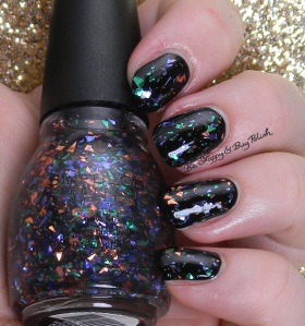 Sinful Colors Mystery Moonshine over Black on Black | Be Happy And Buy Polish