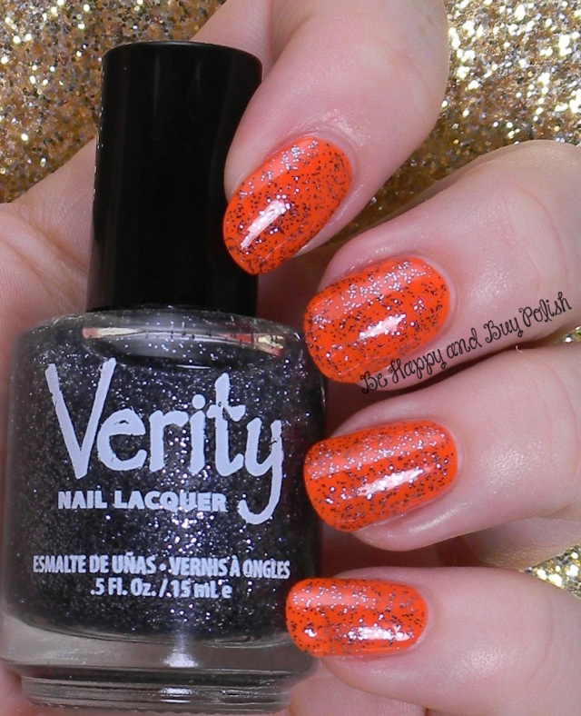 Verity Black Glitter over Verity Trick or Treat | Be Happy And Buy Polish