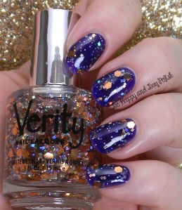 Verity Marigold Sparkles over Verity Deep Violet | Be Happy And Buy Polish