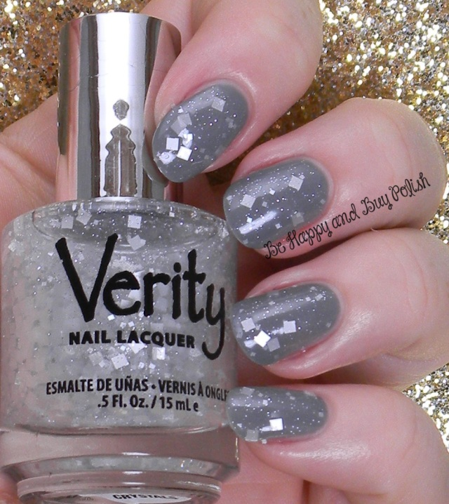 Verity Square Crystals over Verity Lite Grey | Be Happy And Buy Polish