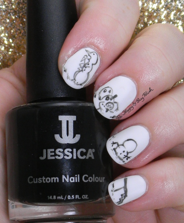 Calvin & Hobbes snowmen nail art | Be Happy And Buy Polish