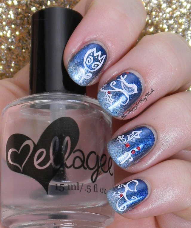 Ice Blue and White gradient nail art | Be Happy And Buy Polish