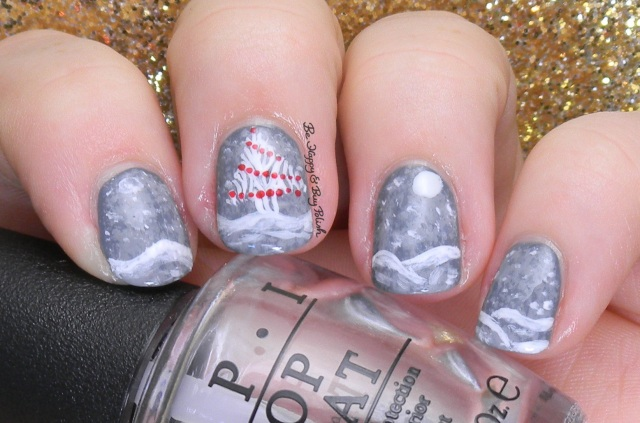 Snowy Christmas Tree scene nail art | Be Happy And Buy Polish