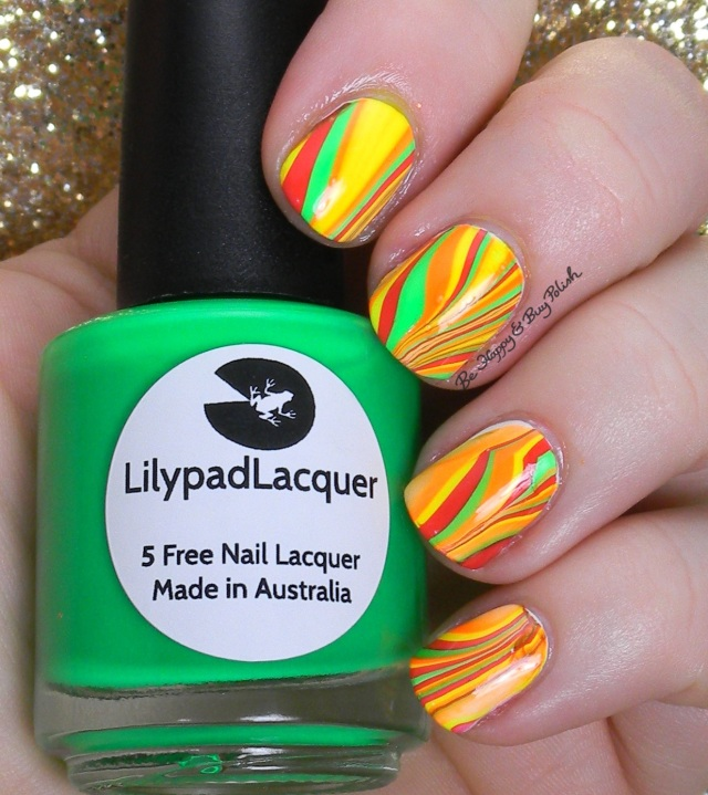 Lilypad Lacquer watermarble | Be Happy And Buy Polish