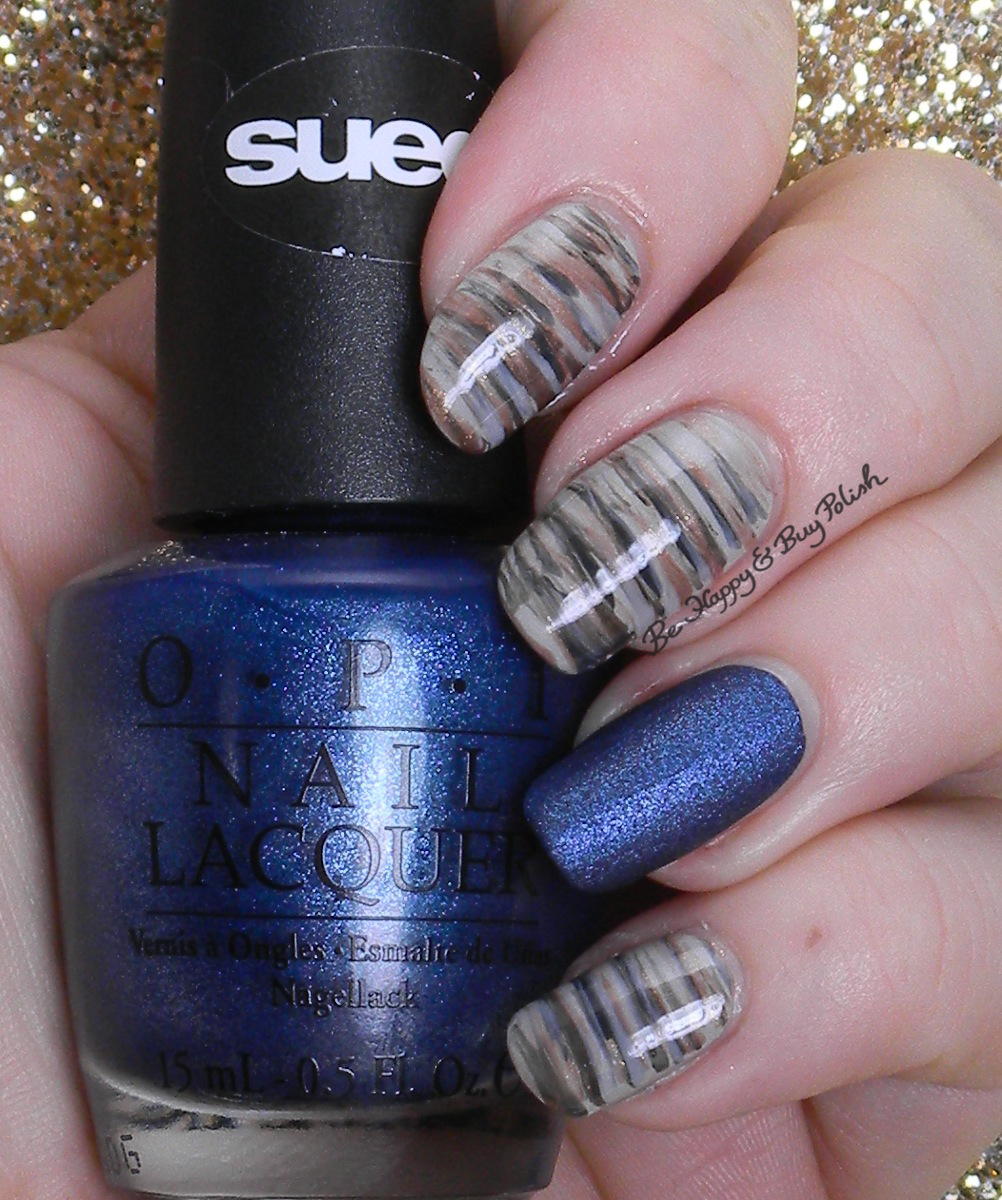 OPI Fan Brush Nail Art with Russian Navy Suede | Be Happy and Buy Polish