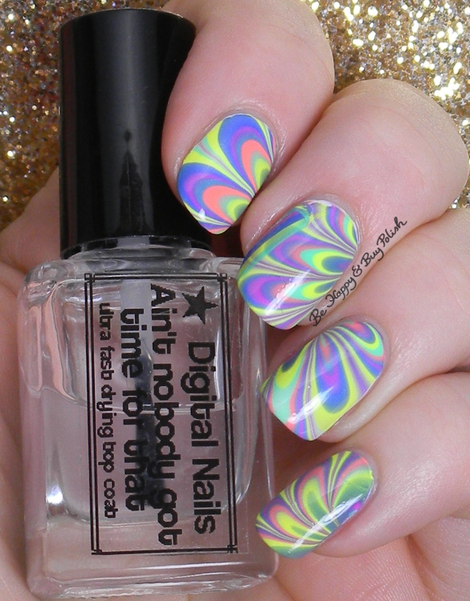 Watermarble Nail Art With B Squared Lacquer Edm Collection