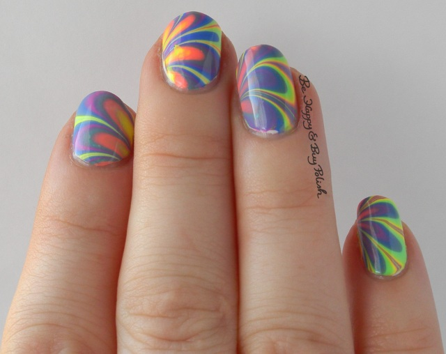 B Squared Lacquer EDM Collection watermarble natural light right hand | Be Happy And Buy Polish