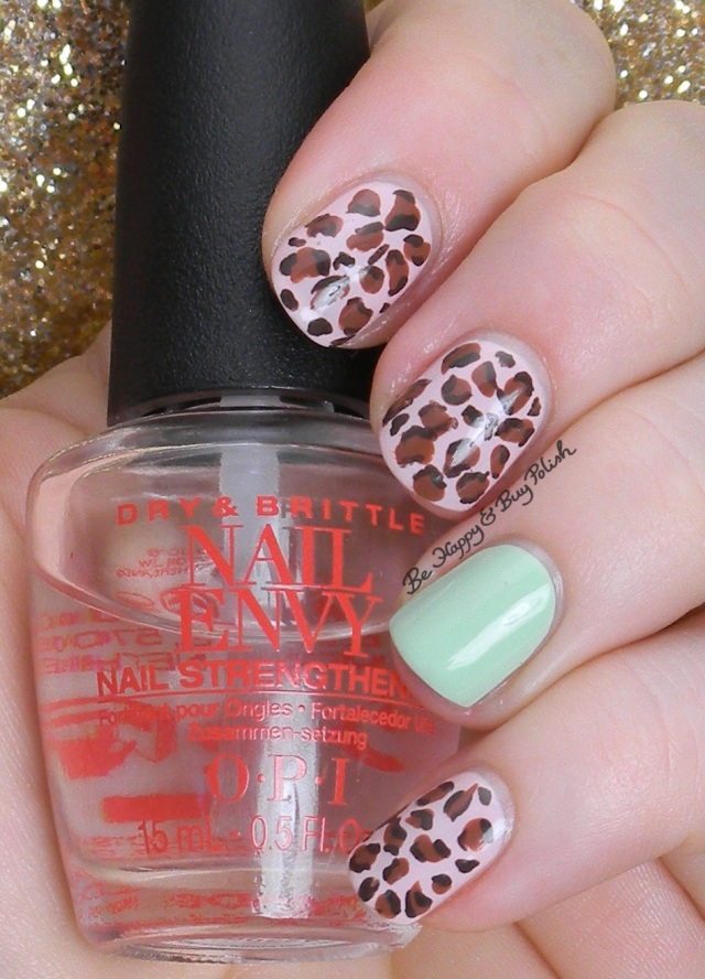 Mint and Pink Leopard Print Manicure | Be Happy And Buy Polish