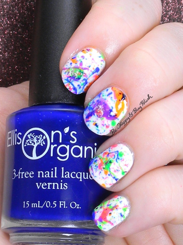 Ellison's Organics You Are collection splatter nail art | Be Happy and Buy Polish