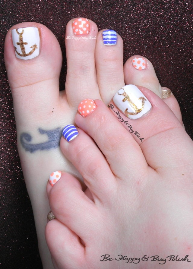 nautical pedicure | Be Happy and Buy Polish