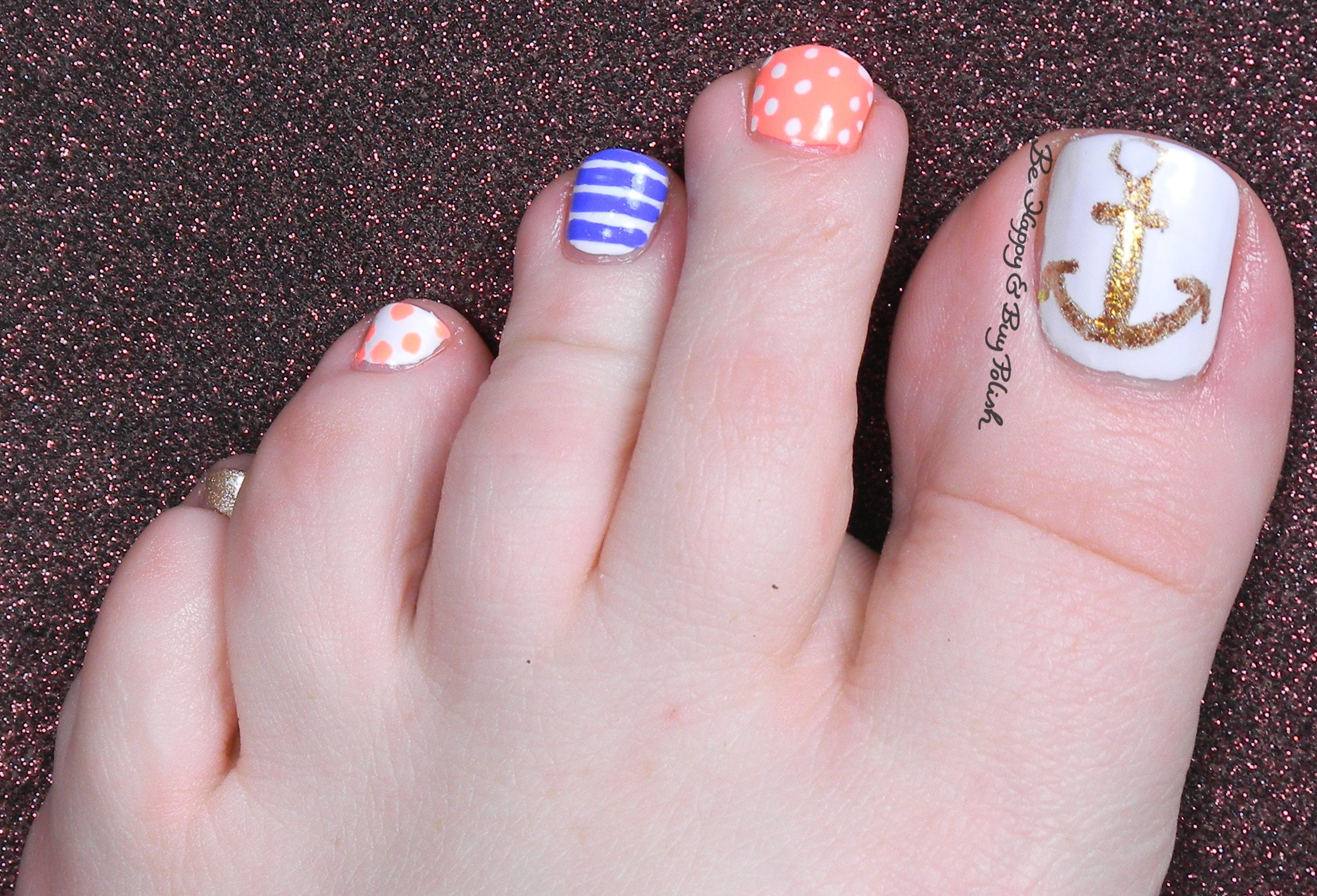 Nautical Nail Art Pedicure | Be Happy and Buy Polish