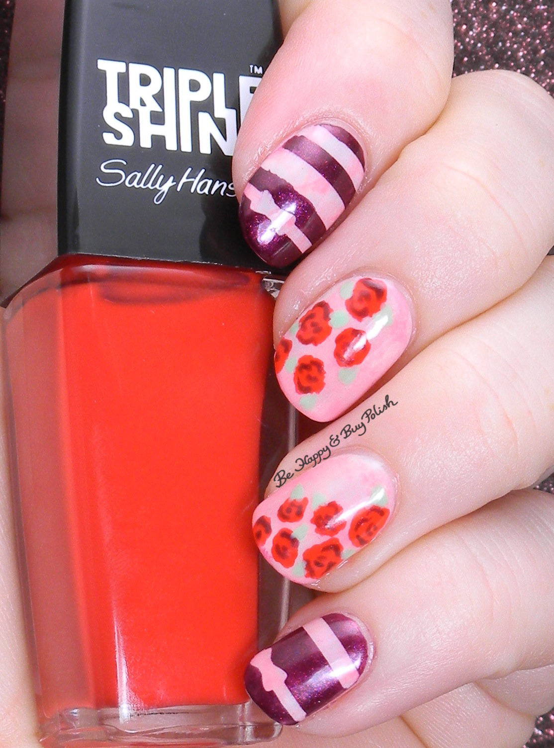 Roses And Stripes Nail Art With Sally Hansen Be Happy And Buy Polish