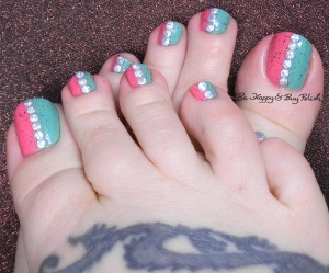 half and half pedicure with holographic studs | Be Happy and Buy Polish