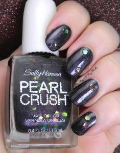 Sally Hansen Pearl Crush Clam Digger over Black Tie | Be Happy And Buy Polish