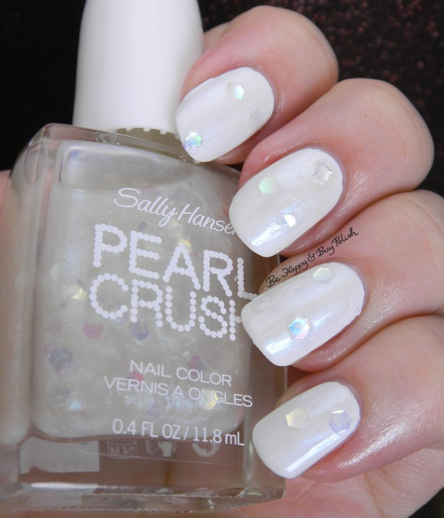 Sally Hansen Pearl Crush Oyster It Up! over White On | Be Happy And Buy Polish