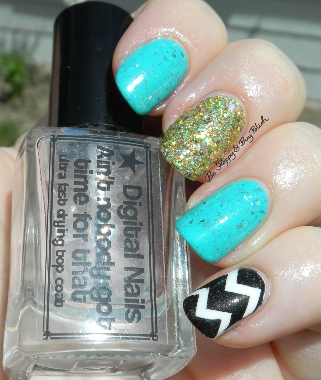 Turquoise, Gold, Black and White Chevron Skittlette manicure sun photo | Be Happy And Buy Polish