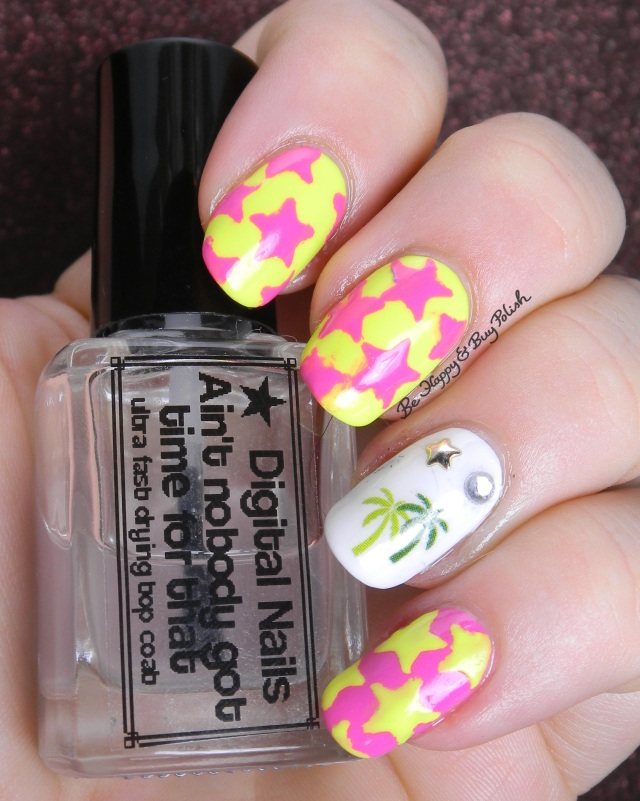 neon yellow and pink stars with palm tree nail art skittlette manicure | Be Happy And Buy Polish