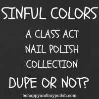 Sinful Colors A Class Act nail polishes comparison post