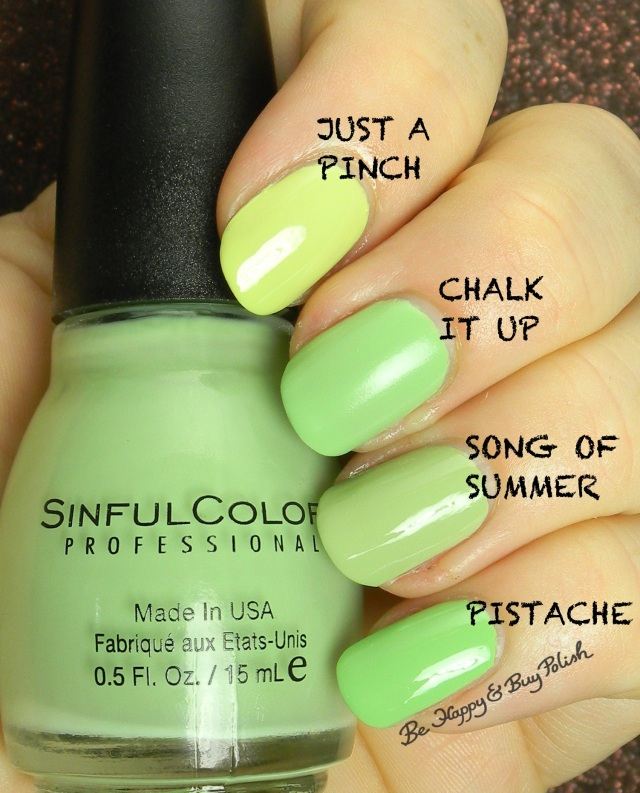 Sinful Colors Chalk It Up compared to Sinful Colors Just a Pinch, Song of Summer, Pistache | Be Happy And Buy Polish