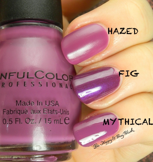Sinful Colors Hazed compared to Sinful Colors Fig, Mythical | Be Happy And Buy Polish