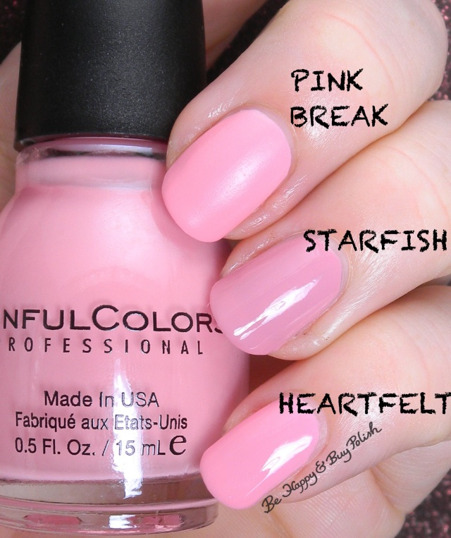 Sinful Colors Pink Break compared to Sinful Colors Starfish, Heartfelt | Be Happy And Buy Polish