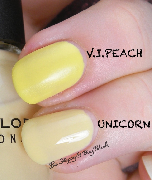 Sinful Colors V.I.Peach compared to Sinful Colors Unicorn | Be Happy And Buy Polish
