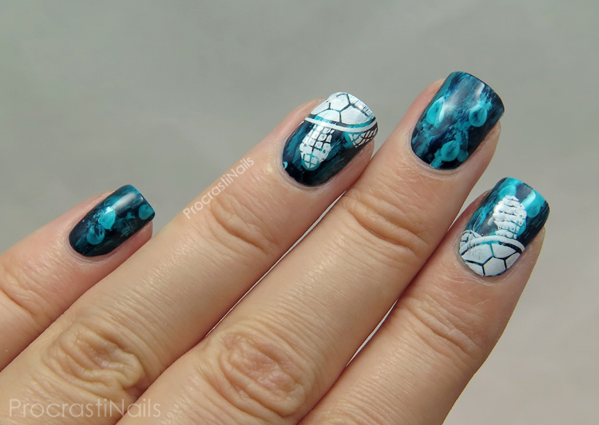 Guest post from procrastinails sea turtle nail art be happy and turquoise jellyfish and turtle nail art prinsesfo Gallery